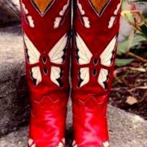 Tony Lama Red Footloose inlay cowboy boots